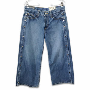Siwy MJ side snaps wide leg cropped jeans NWT
